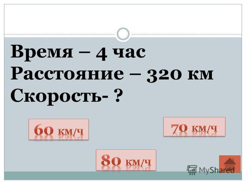 Время – 4 час Расстояние – 320 км Скорость- ?