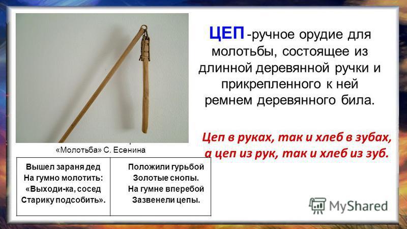 ЦЕП -ручное орудие для молотьбы, состоящее из длинной деревянной ручки и прикрепленного к ней ремнем деревянного била. Цеп в руках, так и хлеб в зубах, а цеп из рук, так и хлеб из зуб. Вышел зараня дед На гумно молотить: «Выходи-ка, сосед Старику под
