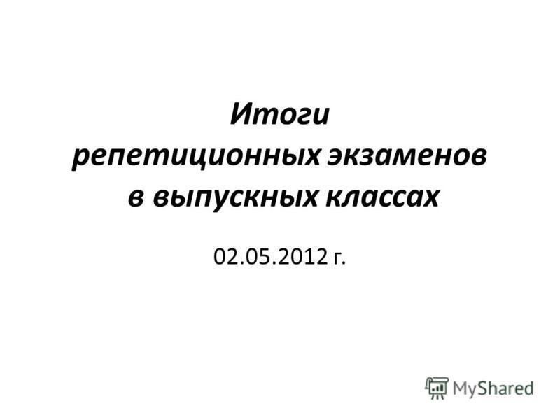 Итоги репетиционных экзаменов в выпускных классах 02.05.2012 г.