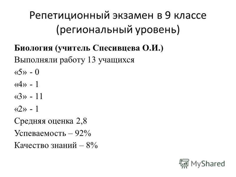 Репетиционный экзамен в 9 классе (региональный уровень) Биология (учитель Спесивцева О.И.) Выполняли работу 13 учащихся «5» - 0 «4» - 1 «3» - 11 «2» - 1 Средняя оценка 2,8 Успеваемость – 92% Качество знаний – 8%
