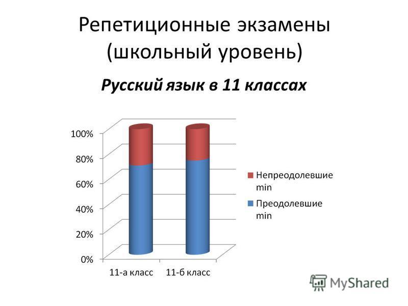 Репетиционные экзамены (школьный уровень) Русский язык в 11 классах