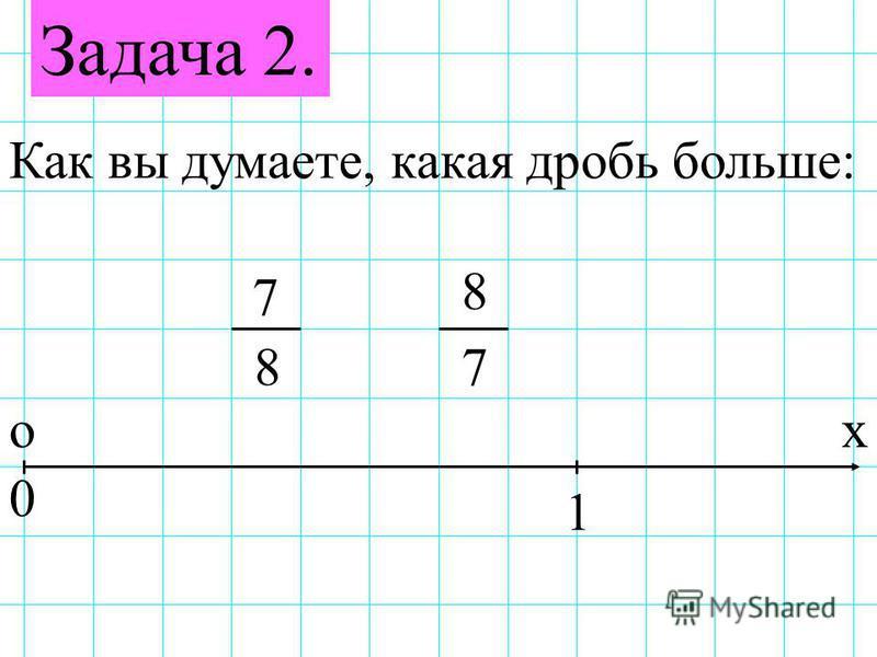 Задача 2. Как вы думаете, какая дробь больше: 7 78 8 ох 0 1