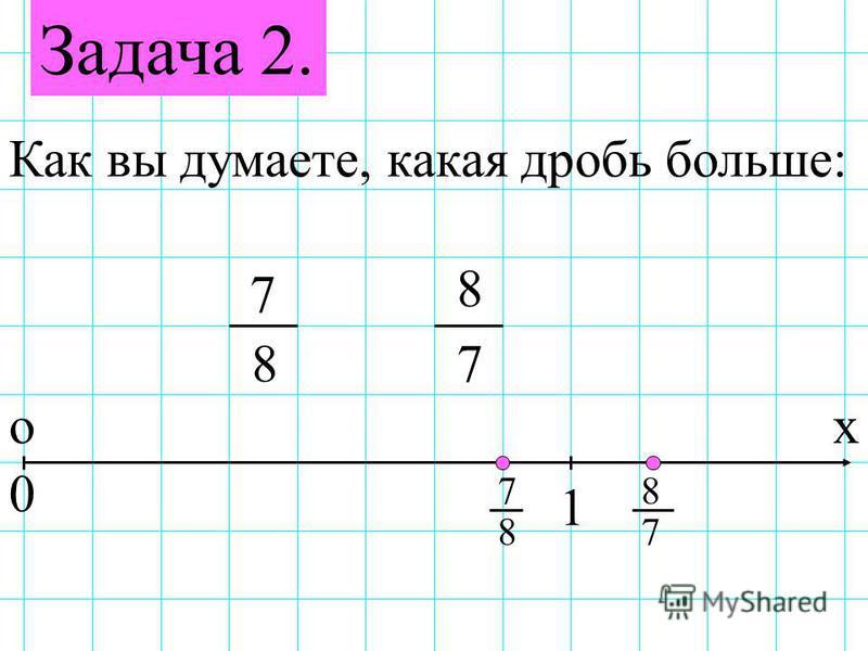 Задача 2. Как вы думаете, какая дробь больше: 7 78 8 ох 0 1 7 87 8