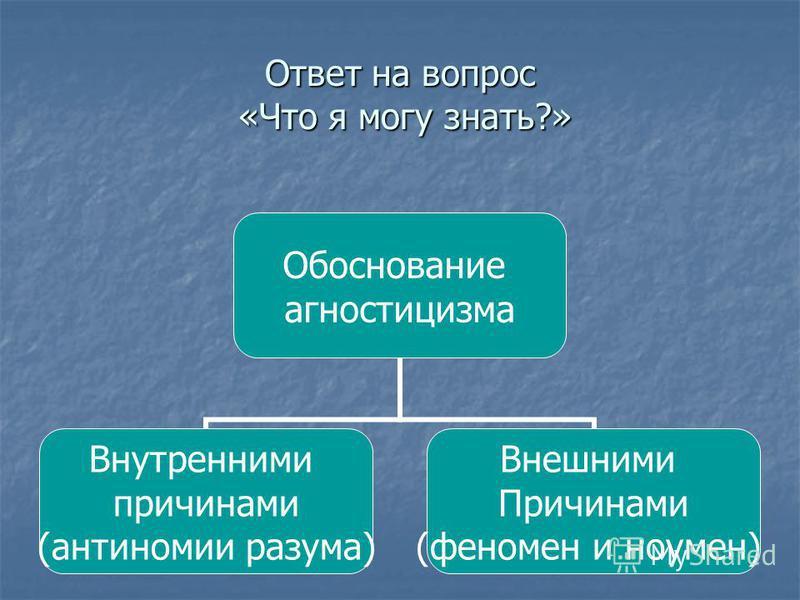 Обоснование агностицизма Внутренними причинами (антиномии разума) Внешними Причинами (феномен и ноумен) Ответ на вопрос «Что я могу знать?»