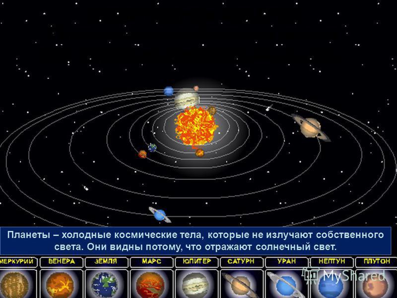 Вокруг Солнца движется 9 больших шарообразных планет. Они образуют Солнечную систему. Планеты – холодные космические тела, которые не излучают собственного света. Они видны потому, что отражают солнечный свет.