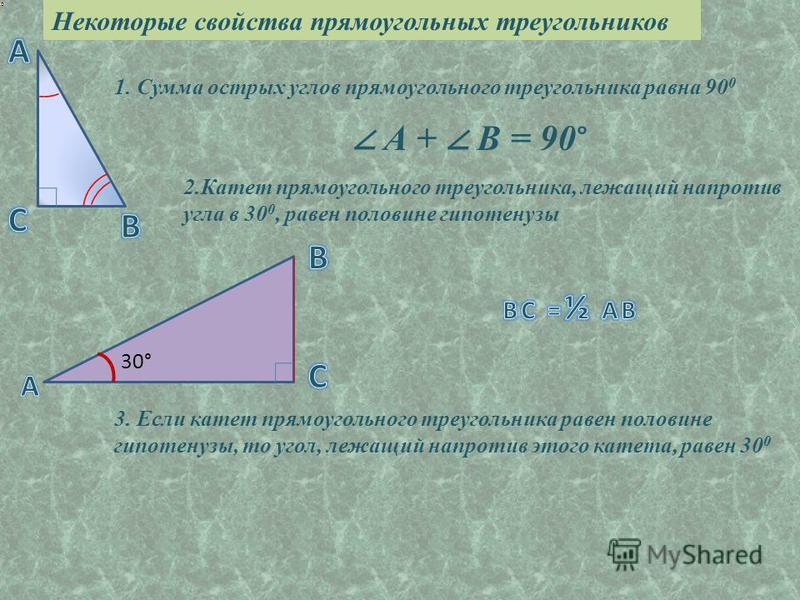 1. Сумма острых углов прямоугольного треугольника равна 90 0 2. Катет прямоугольного треугольника, лежащий напротив угла в 30 0, равен половине гипотенузы Некоторые свойства прямоугольных треугольников 3. Если катет прямоугольного треугольника равен