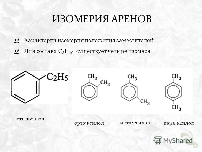 ИЗОМЕРИЯ АРЕНОВ Характерна изомерия положения заместителей Для состава С 8 Н 10 существует четыре изомера этилбензол орто-ксилол мета-ксилол пара-ксилол