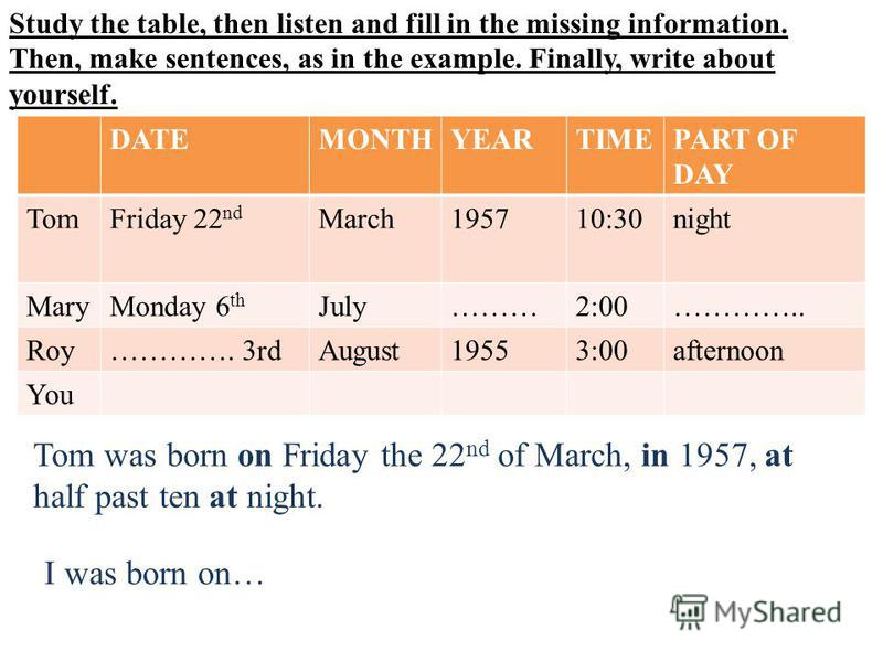 Study the table, then listen and fill in the missing information. Then, make sentences, as in the example. Finally, write about yourself. DATEMONTHYEARTIMEPART OF DAY TomFriday 22 nd March195710:30night MaryMonday 6 th July………2:00………….. Roy…………. 3rdA
