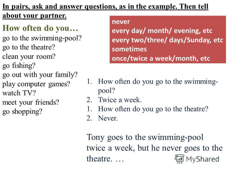 In pairs, ask and answer questions, as in the example. Then tell about your partner. How often do you… go to the swimming-pool? go to the theatre? clean your room? go fishing? go out with your family? play computer games? watch TV? meet your friends?