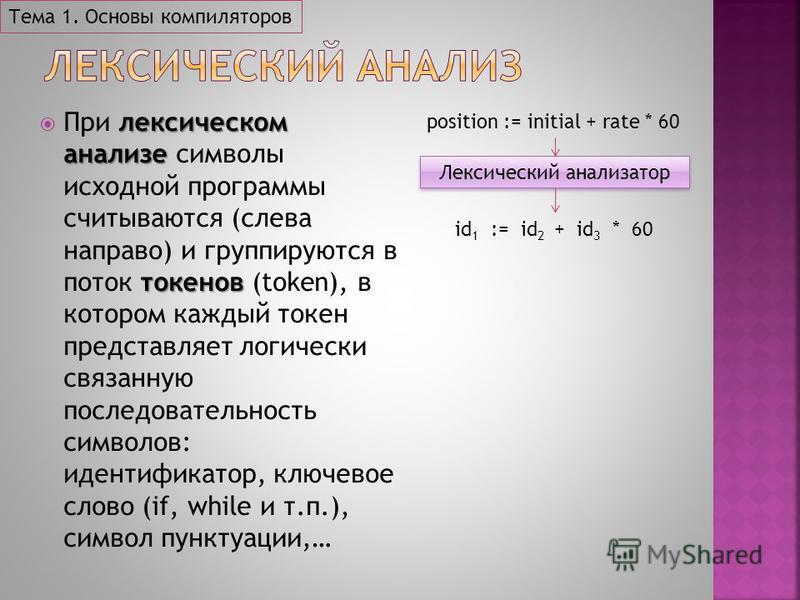 лексическом анализе токенов При лексическом анализе символы исходной программы считываются (слева направо) и группируются в поток токенов (token), в котором каждый токен представляет логически связанную последовательность символов: идентификатор, клю