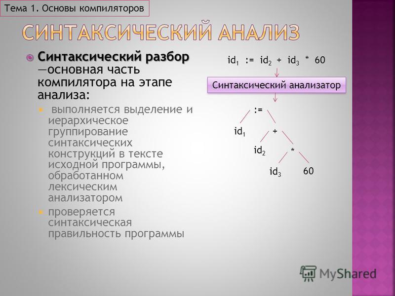 Синтаксический разбор Синтаксический разбор основная часть компилятора на этапе анализа: выполняется выделение и иерархическое группирование синтаксических конструкций в тексте исходной программы, обработанном лексическим анализатором проверяется син