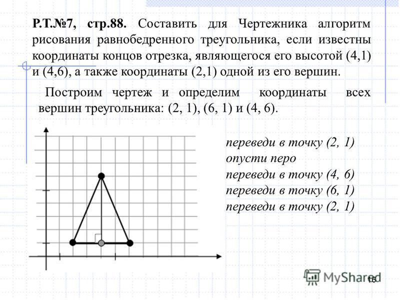 16 Р.Т.7, стр.88. Составить для Чертежника алгоритм рисования равнобедренного треугольника, если известны координаты концов отрезка, являющегося его высотой (4,1) и (4,6), а также координаты (2,1) одной из его вершин. Построим чертеж и определим коор