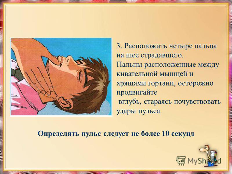 3. Расположить четыре пальца на шее страдавшего. Пальцы расположенные между кивательной мышцей и хрящами гортани, осторожно продвигайте вглубь, стараясь почувствовать удары пульса. Определять пульс следует не более 10 секунд