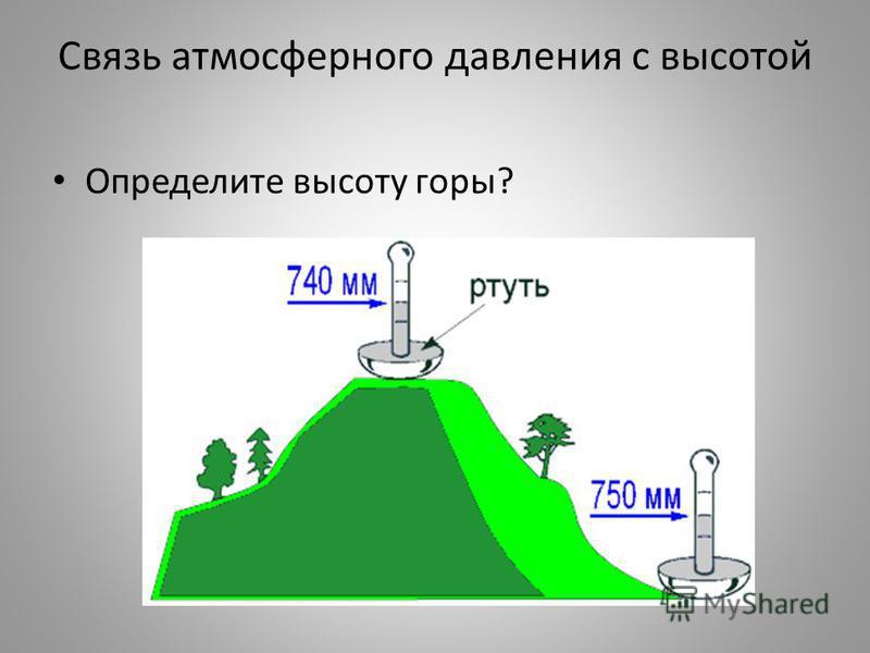 Связь атмосферного давления с высотой 1 мм рт ст =12 м высоты подъёма P=740 мм. рт.ст P=760 мм. рт. ст Высота башни равна h=(760-740)*12 м=240 м альтиметр h=?