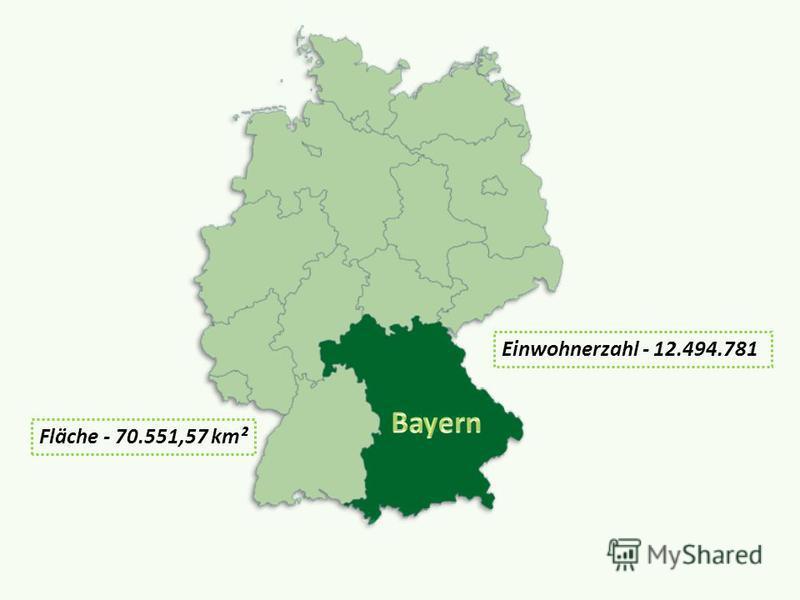 Fläche - 70.551,57 km² Einwohnerzahl - 12.494.781