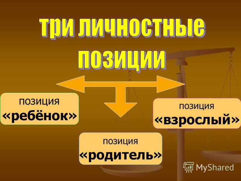 позиция «ребёнок» позиция «родитель» позиция «взрослый»
