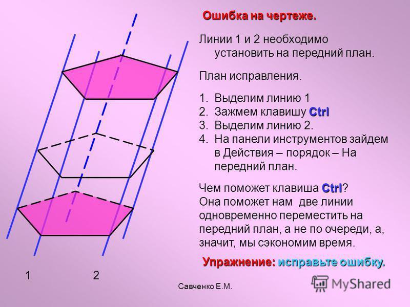 Савченко Е.М. 12 Ошибка на чертеже. Линии 1 и 2 необходимо установить на передний план. План исправления. 1. 1. Выделим линию 1 2. Ctrl 2. Зажмем клавишу Ctrl 3. 3. Выделим линию 2. 4. 4. На панели инструментов зайдем в Действия – порядок – На передн