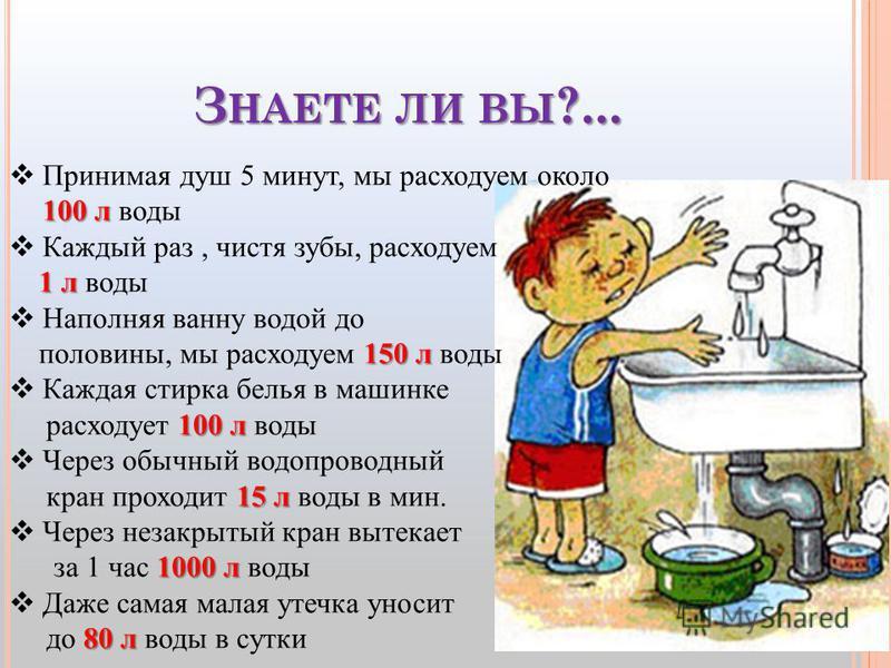 З НАЕТЕ ЛИ ВЫ ?... 100 л Принимая душ 5 минут, мы расходуем около 100 л воды Каждый раз, чистя зубы, расходуем 1 л 1 л воды Наполняя ванну водой до 150 л половины, мы расходуем 150 л воды Каждая стирка белья в машинке 100 л расходует 100 л воды Через