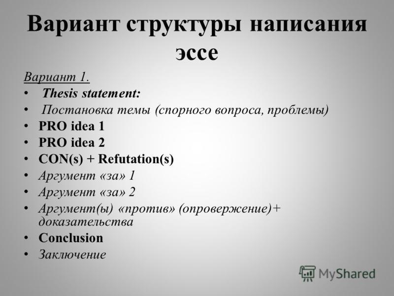 Вариант структуры написания эссе Вариант 1. Thesis statement: Постановка темы (спорного вопроса, проблемы) PRO idea 1 PRO idea 2 CON(s) + Refutation(s) Аргумент «за» 1 Аргумент «за» 2 Аргумент(ы) «против» (опровержение)+ доказательства Conclusion Зак
