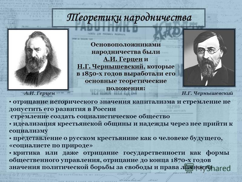 отрицание исторического значения капитализма и стремление не допустить его развития в России стремление создать социалистическое общество идеализация крестьянской общины и надежды через нее прийти к социализму представление о русском крестьянине как
