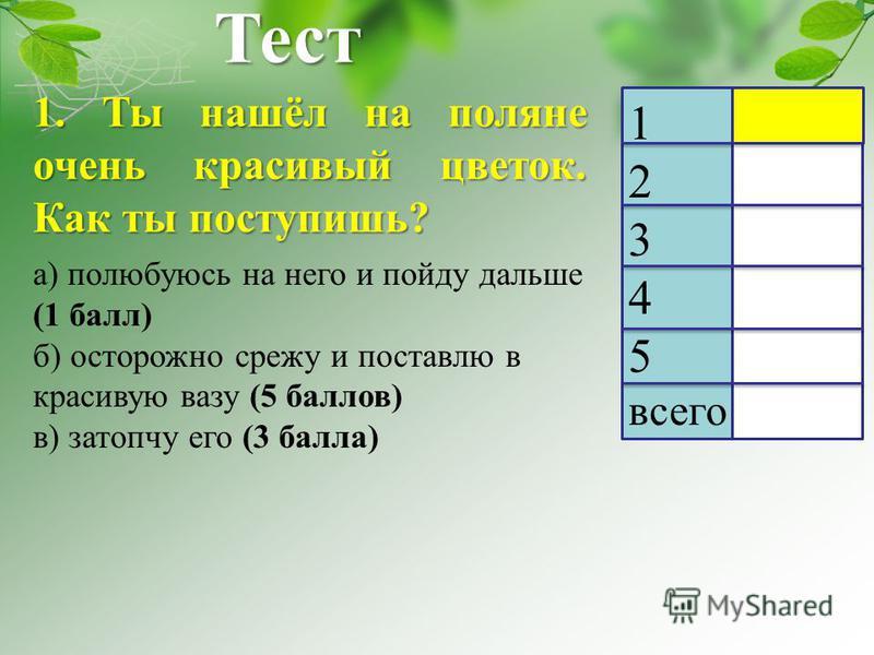 Тест 1. Ты нашёл на поляне очень красивый цветок. Как ты поступишь? 1 2 3 4 5 всего а) полюбуюсь на него и пойду дальше (1 балл) б) осторожно срежу и поставлю в красивую вазу (5 баллов) в) затопчу его (3 балла)