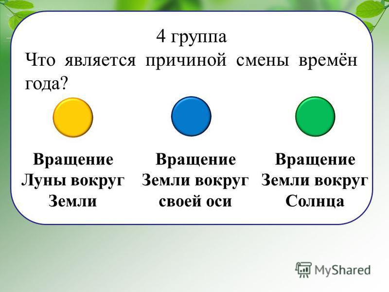 4 группа Что является причиной смены времён года? Вращение Луны вокруг Земли Вращение Земли вокруг своей оси Вращение Земли вокруг Солнца