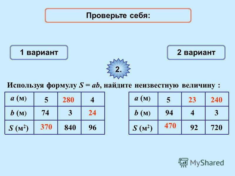 1 вариант 2 вариант 2. Используя формулу S = ab, найдите неизвестную величину : a (м ) S (м 2 ) 74 5 840 4 96 b (м ) 3 a (м ) S (м 2 ) 94 5 92720 4b (м ) 3 370 Проверьте себя: 470 28023 24 240