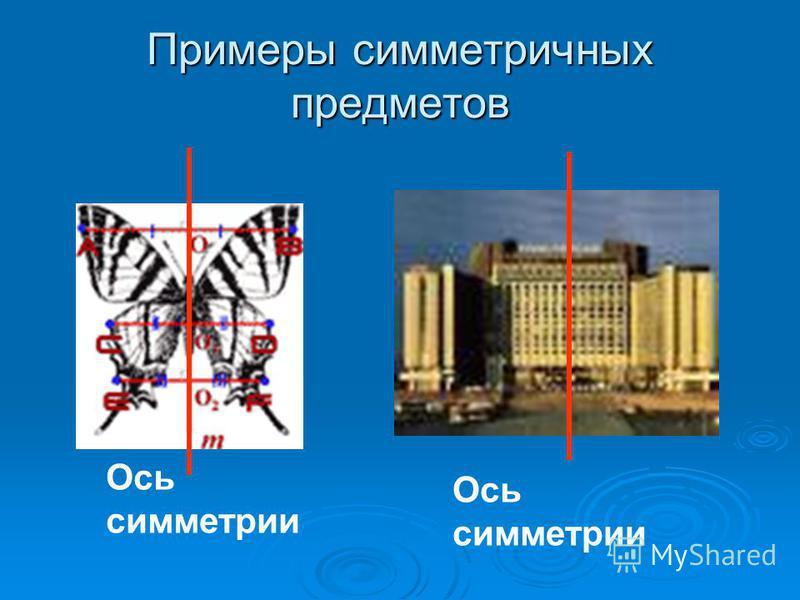 Примеры симметричных предметов Ось симметрии Ось симметрии