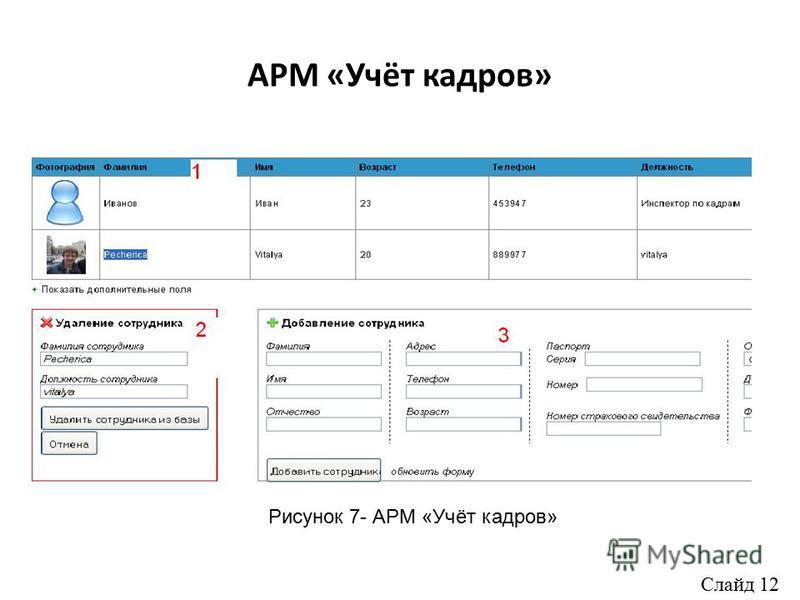 АРМ «Учёт кадров» Рисунок 7- АРМ «Учёт кадров» Слайд 12