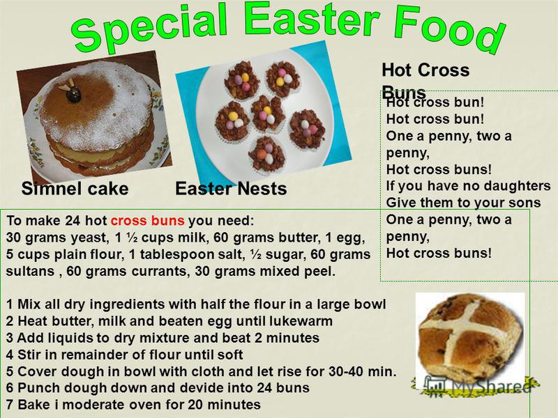 Hot Cross Buns Easter NestsSimnel cake Hot cross bun! One a penny, two a penny, Hot cross buns! If you have no daughters Give them to your sons One a penny, two a penny, Hot cross buns! To make 24 hot cross buns you need: 30 grams yeast, 1 ½ cups mil