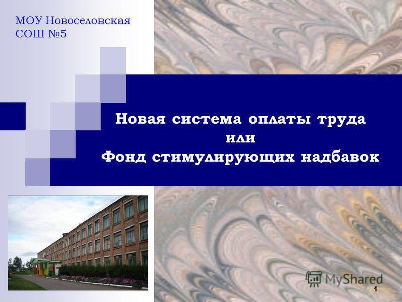 1 Новая система оплаты труда или Фонд стимулирующих надбавок МОУ Новоселовская СОШ 5