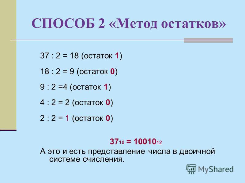 СПОСОБ 2 «Метод остатков» 37 : 2 = 18 (остаток 1) 18 : 2 = 9 (остаток 0) 9 : 2 =4 (остаток 1) 4 : 2 = 2 (остаток 0) 2 : 2 = 1 (остаток 0) 37 10 = 10010 12 А это и есть представление числа в двоичной системе счисления.
