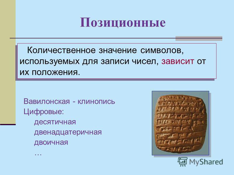 Позиционные Вавилонская - клинопись Цифровые: десятичная двенадцатеричная двоичная … Количественное значение символов, используемых для записи чисел, зависит от их положения.