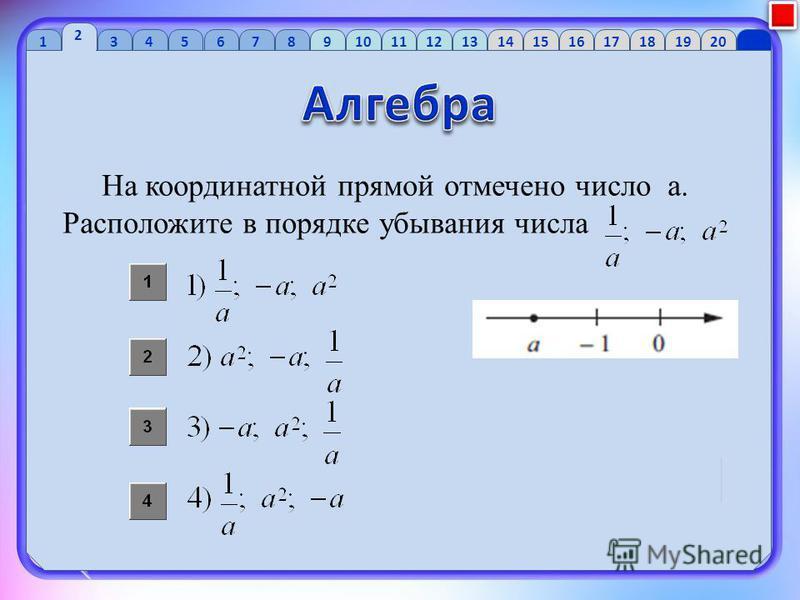 1 2 34 56 7 89 10 1112 13 1415 16 1718 1920 На координатной прямой отмечено число a. Расположите в порядке убывания числа