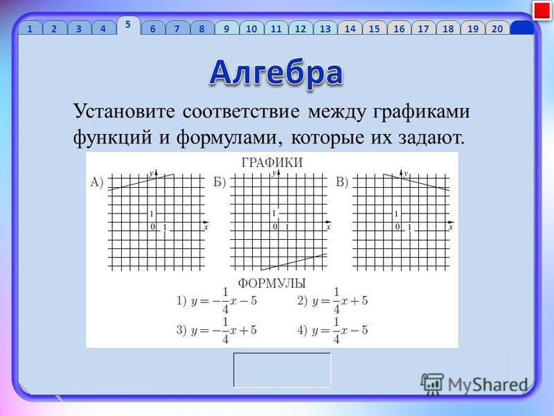 1 2 34 5 6 7 89 10 1112 13 1415 16 1718 1920 Установите соответствие между графиками функций и формулами, которые их задают.