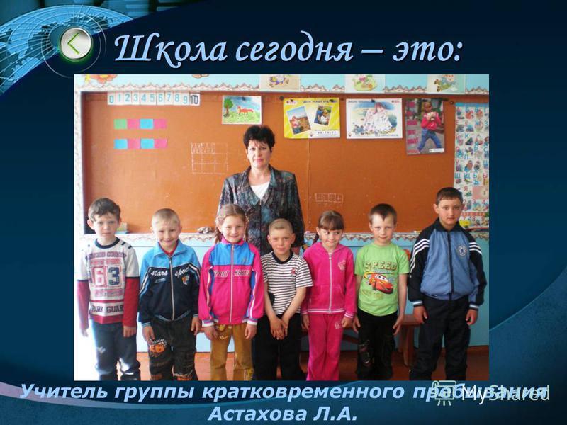 Школа сегодня – это: Учитель группы кратковременного пребывания Астахова Л.А.