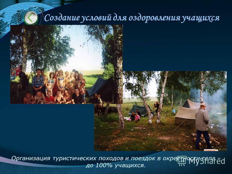 Создание условий для оздоровления учащихся Организация туристических походов и поездок в окрестности села – до 100% учащихся.