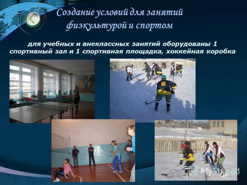 Создание условий для занятий физкультурой и спортом для учебных и внеклассных занятий оборудованы 1 спортивный зал и 1 спортивная площадка, хоккейная коробка