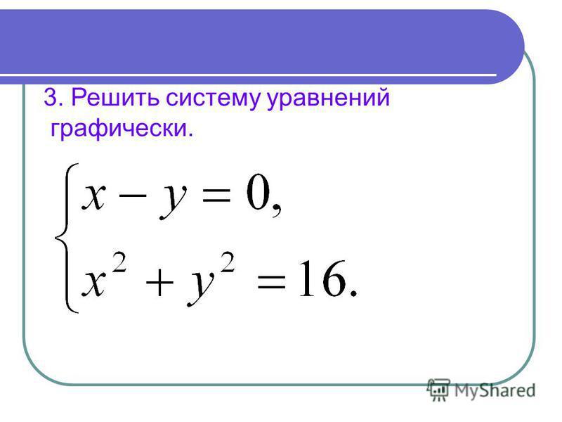 3. Решить систему уравнений графически.