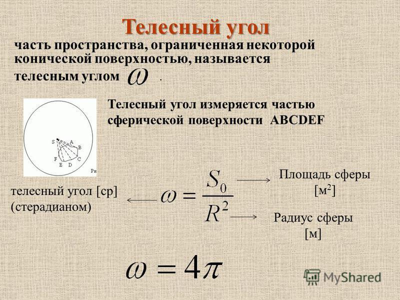 часть пространства, ограниченная некоторой конической поверхностью, называется телесным углом. Телесный угол Телесный угол измеряется частью сферической поверхности ABCDEF Площадь сферы [м 2 ] Радиус сферы [м] телесный угол [ср] (стерадианом)