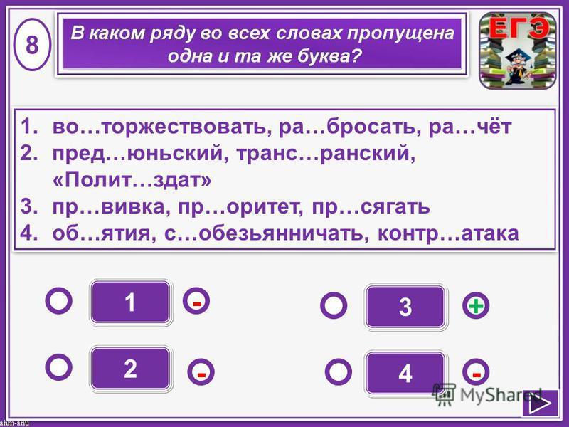 1 - - + - 2 3 4 1.во…торжествовать, ра…бросать, ра…чёт 2.пред…ииюньский, транс…ииранский, «Полит…здат» 3.пр…вика, пр…оритет, пр…сягать 4.об…ятия, с…обезьянничать, контр…атака 1.во…торжествовать, ра…бросать, ра…чёт 2.пред…ииюньский, транс…ииранский, «