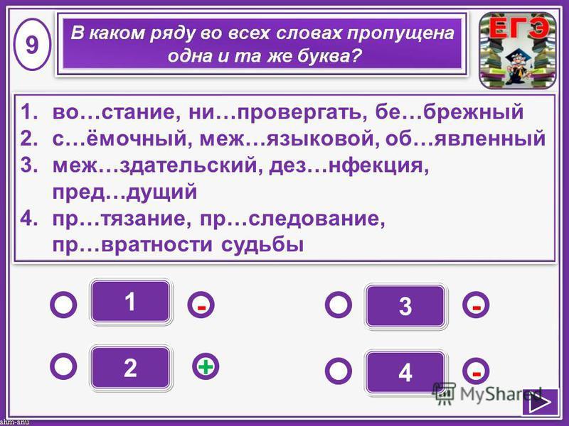 1 - - + - 2 3 4 1.во…стание, ни…оопровергать, бе…бережный 2.с…ямочный, меж…языковой, об…явленный 3.меж…ииздательский, дез…иинфекция, пред…иииидущий 4.пр…вязание, пр…следование, пр…вратности судьбы 1.во…стание, ни…оопровергать, бе…бережный 2.с…ямочный