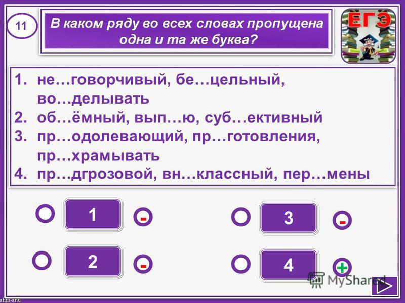 1 - - + - 2 3 4 1.не…ссговорчивый, бе…цельный, во…делывать 2.об…ёмный, вып…ю, саб…активный 3.пр…одолевающий, пр…изизготовления, пр…храмывать 4.пр…д грозовой, вн…классный, пер…мены 1.не…ссговорчивый, бе…цельный, во…делывать 2.об…ёмный, вып…ю, саб…акти