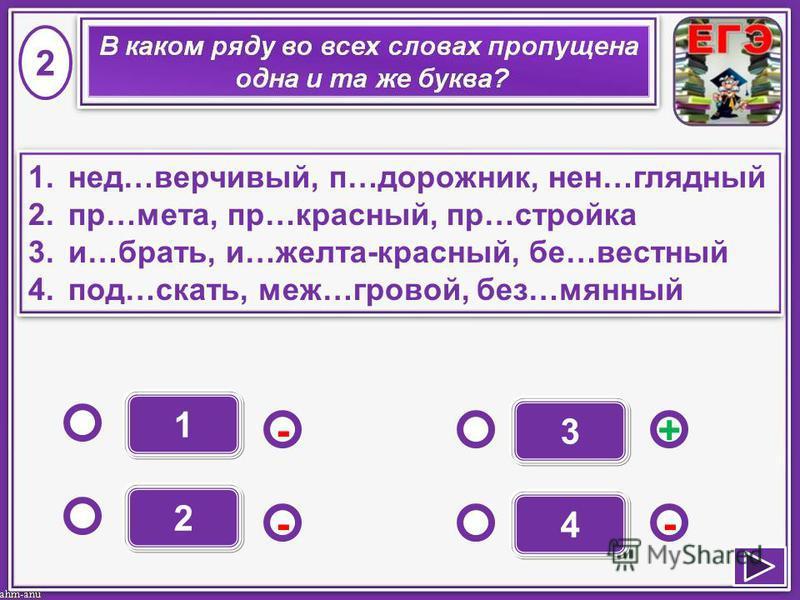 1 - - + - 2 3 4 1.нед…додоверчивый, п…дорожник, не…нанаглядный 2.пр…мета, пр…красный, пр…стройка 3.и…брать, и…желта-красный, бе…честный 4.под…скать, меж…иииигровой, без…манный 1.нед…додоверчивый, п…дорожник, не…нанаглядный 2.пр…мета, пр…красный, пр…с