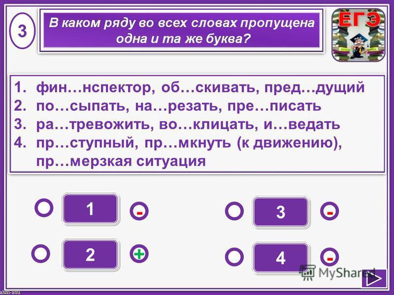 1 - - + - 2 3 4 1.фин…иинспектор, об…сковать, пред…иииидущий 2.по…сыпать, на…резать, пре…писать 3.ра…тревожить, во…клицать, и…ведать 4.пр…ступный, пр…мокнуть (к движению), пр…мерзкая ситуация 1.фин…иинспектор, об…сковать, пред…иииидущий 2.по…сыпать,
