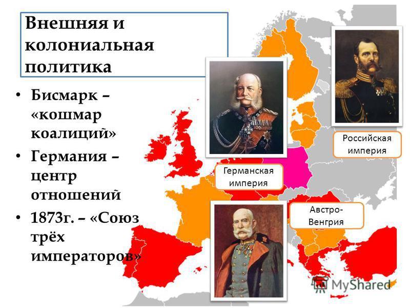Внешняя и колониальная политика Бисмарк – «кошмар коалиций» Германия – центр отношений 1873 г. – «Союз трёх императоров» Германская империя Российская империя Австро- Венгрия