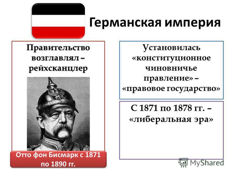Германская империя Правительство возглавлял – рейхсканцлер Установилась «конституционное чиновничье правление» – «правовое государство» Отто фон Бисмарк с 1871 по 1890 гг. С 1871 по 1878 гг. – «либеральная эра»