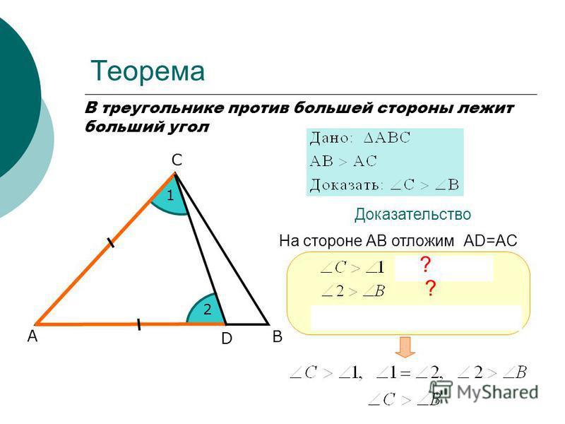 Теорема В треугольнике против большей стороны лежит больший угол А С В Доказательство D 1 2 ? ? На стороне АВ отложим АD=AC