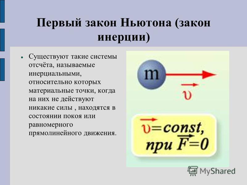 Первый закон Ньютона (закон инерции) Существуют такие системы отсчёта, называемые инерциальными, относительно которых материальные точки, когда на них не действуют никакие силы, находятся в состоянии покоя или равномерного прямолинейного движения.