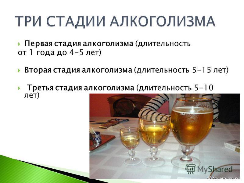Первая стадия алкоголизма (длительность от 1 года до 4-5 лет) Вторая стадия алкоголизма (длительность 5-15 лет) Третья стадия алкоголизма (длительность 5-10 лет)
